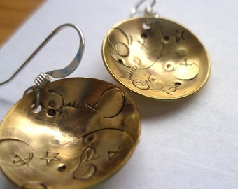Golden Migration handstamped bronze brass sterling silver earrings