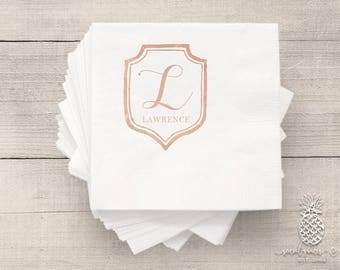 Monogram Crest | Customizable Cocktail Napkins | Birthdays, Weddings, Engagement Bridal Parties or Baby Shower | social graces and Co