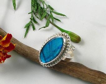 Handmade Sterling Teal Blue Flash Labradorite Ring adjustable size, ooak