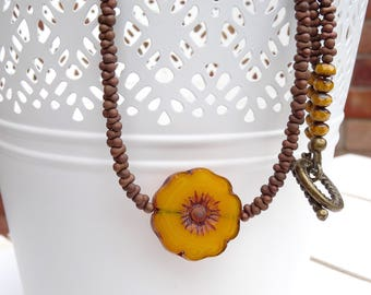 Floral Necklace, Pansy Necklace, Brown Necklace, Burnt Orange Necklace, Mustard Necklace, Boho Necklace, Czech Glass Necklace, Gift For Her.