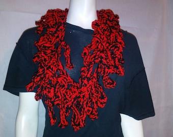 Red & Black Loopy Scarf