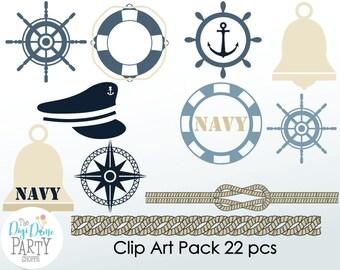 Navy Military Digital Scrapbooking Clip Art. Buy 2 Get 1 FREE, Instant Download
