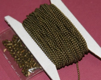 32 ft of antique brass chain 1.5mm ball chain with connector