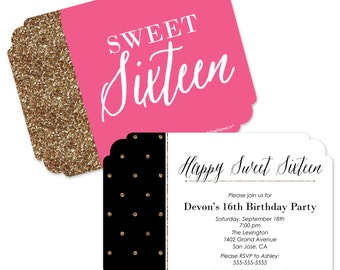 Chic 16th Birthday – Pink, Black, and Gold Invitations - Personalized Birthday Party Invites - Sweet 16 - Set of 12