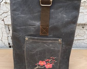 Waxed Canvas Lunch Sack Bag / New Leather / Embroidered Cherry Blossoms / Leather Buckle Closure / Riveted Pocket