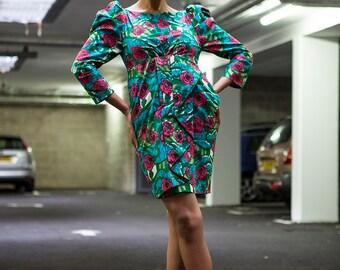 Rose print dress African print dress
