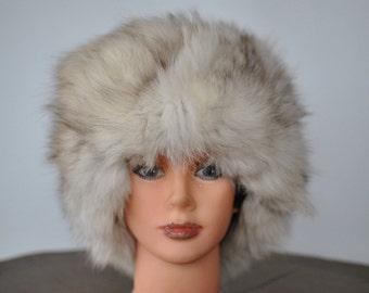 Vintage POLAR  FOX FUR hat , glamorous fur hat , luxurious fox fur hat...(006)