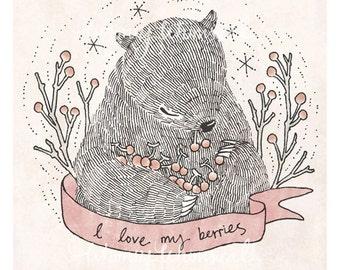 I love my berries - 5x7 Print