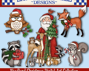 Woodland Christmas Clip Art, Christmas Animals, Laurie Furnell, Holiday Clip Art, Christmas Paper Crafts, Woodland Santa, Woodland Clip Art