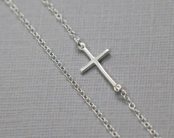 Cross Necklace, Sterling Silver Sideways Cross Necklace
