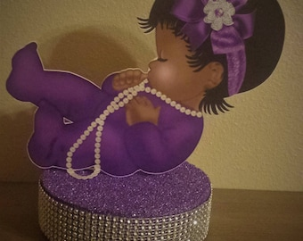 Little Sleeping baby table Centerpiece Princess 1st Birthday Party or Baby shower Purple Silver or Gold Ethnic African American
