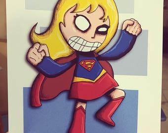 Supergirl Justice League Art Print Illustration