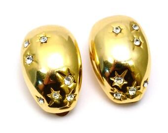 Vintage chunky gold toned metal star set rhinestone clip on earrings