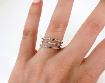 Set of 3 - Trio Pave Black & white Diamond Bands- 18K Gold - Wedding Bands - Stacking Bands