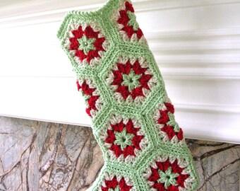Crochet de bas de Noël - bas au crochet de grand-mère hexagone Style - menthe verte de Noël au Crochet