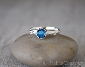 Blue Zircon Ring in Sterling Silver - Handcrafted Blue Zircon Ring -  Blue Zircon stacking Ring - December Birthstone Ring