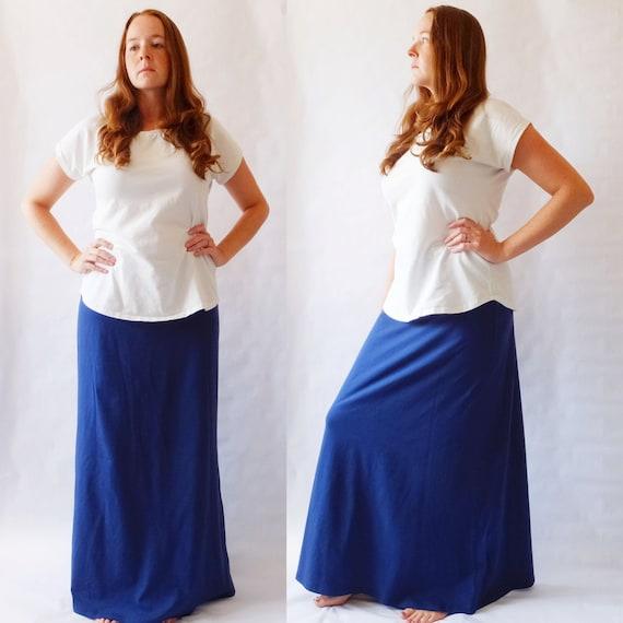 Maxi Skirt womens Long skirt floor length skirt Cotton Jersey Skirt Aline yoga waistband maternity skirt - womens clothing Made to Order