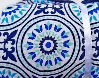 Navy blue medallion baby girl blanket