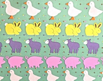 Vintage Wrapping Paper Sheets with Animals, Ducks, Bunnies, Lambs, Pigs, Baby Shower & Birthday Gift Wrap, Lot of 11 Sheets