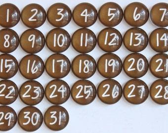 31 marrone calendario numero vetro magneti