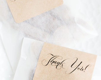 Customized Thank You DIY Wedding Favors - Fleur de Sel Caramels in White Glassine Envelopes - 100 Guests