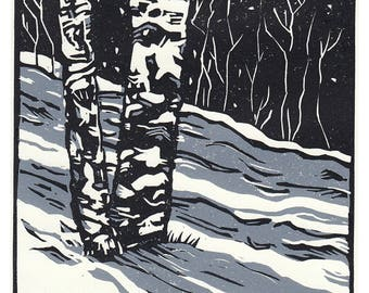 Winter Aspens, 2 Color Linocut Reduction Print, Hand Pulled Fine Art, Limited Edition, Printmaking Original