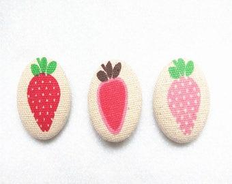 Multicolor Strawberry Fabric Cover Button Sew Shank Decoration Diy Accessories 1.25inch