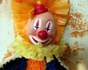 Vintage Clown Plastic Strips Ribbons - Carnival, Fair - Novelty 1960's - Rare