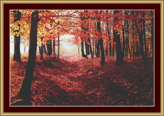 Autumn Woodland Cross Stitch Pattern /Digital PDF Files /Instant downloadable