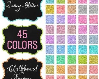 Clipart Fancy Glitter Chalkboard Frames BUNDLE 45 Colors CA202