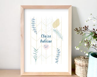 Customizable poster, gift wedding poster name, date, lovers, illustration, decoration, personalized gift, Valentine's day