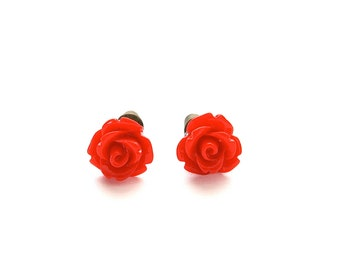 Tiny So Red Rose Earrings, Under 5 Dollars, Christmas Red, Gift for Her