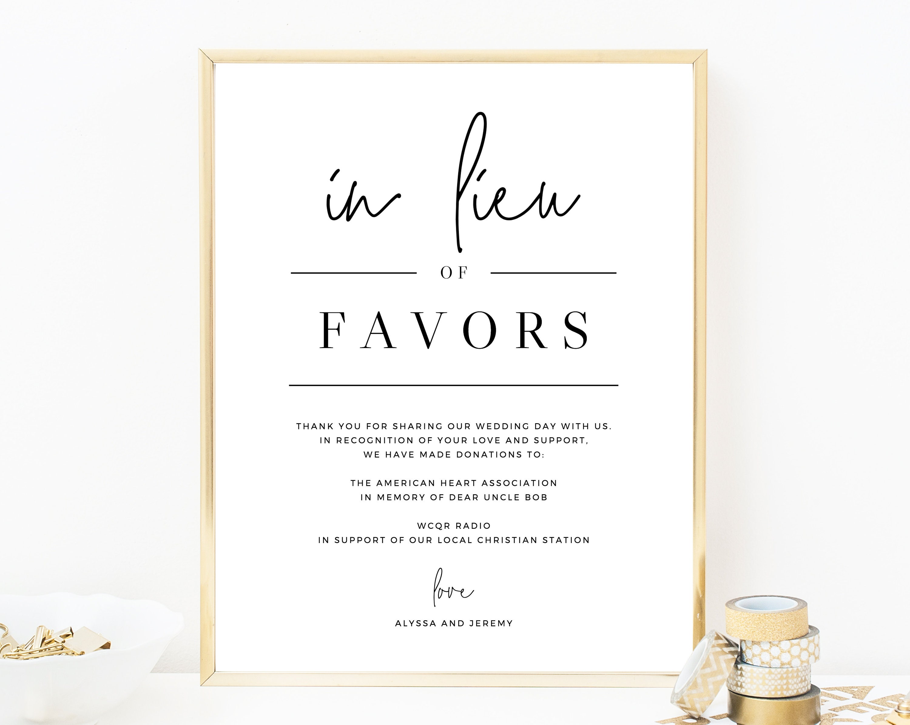 In Lieu of Favors Sign Template, Printable In Lieu of Favors Sign ...