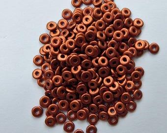 Czech Glass O Bead Copper 5 grams