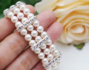 Wedding Jewelry Bridal Bracelet Bridesmaid Bracelet 3 strands of Crystal White Swarovski Pearls with rhinestone Spacers Bracelet
