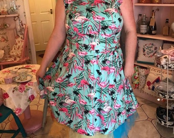 Rocket Retro flamingo dress Nwtgs 18/20