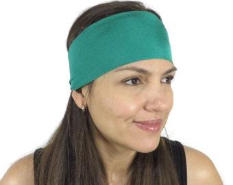Yoga Headband Solid Green Headband Fitness Headband No Slip Workout Headband Hair Accessories Spinning Wide Headband Boho Women Turban S69