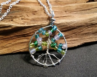 Tree of Life wire wrapped pendant lime lilac aqua