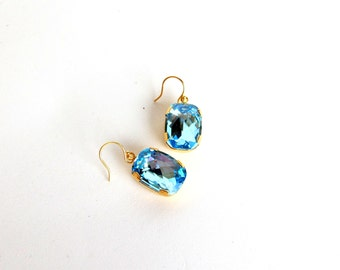 Something Blue No.79 - Aquamarine Swarovski Crystal Faceted Rectangle Drop Earrings in Gold Plated Finish