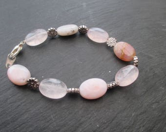Quartz and pink Opal - stones semi precious bracelet