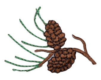 Pine Cones and Needles Applique Patch (Small, Iron on)