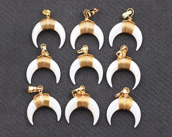 Small Crescent Moon White Shell Pendants -- With Electroplated Gold Edge Double Horn Charms Wholesale CQA-025