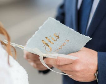 Wedding vows, Wedding vows print, Vows Book Gold, Vows on paper, Wedding Vow Booklet, Custom Vow Books, Vow Books Gold Foil -  SET OF TWO -