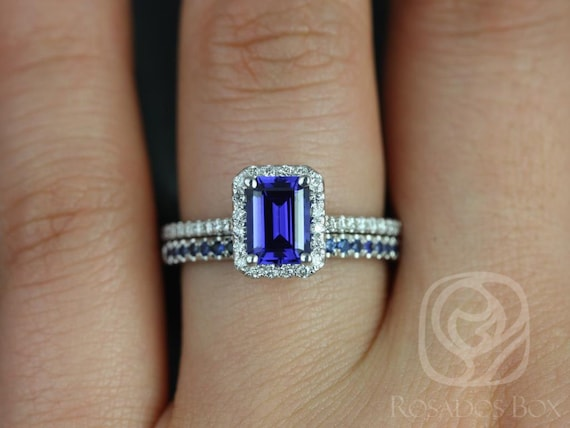 Rosados Box Lisette 7x5 mm & Kierra 14kt White Gold Emerald Cut Blue Sapphire and Diamonds Halo Wedding Set