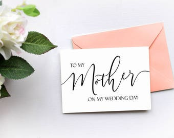 To My Mother On My Wedding Day Card, Wedding Thank You Card, Mom Stepmother Card, Mother of the Bride Gift Card, Mother of the Groom Gift