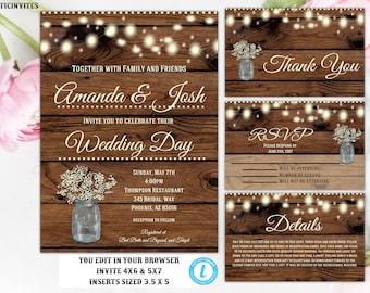 Wedding Invitation Template, Instant Download, Floral Wedding Invite, Rustic Wedding Invitation Template, Wedding Invitation Set, Template