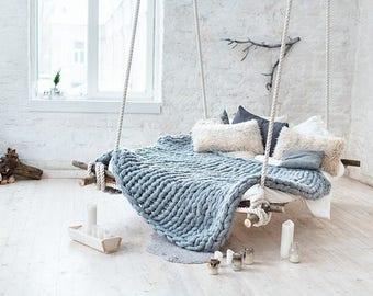 Super Chunky Knit Merino Wool Blanket, gift, handmade, blanket, wool, chunky, merino wool, merino, armknitted, handknitted, knitted blanket