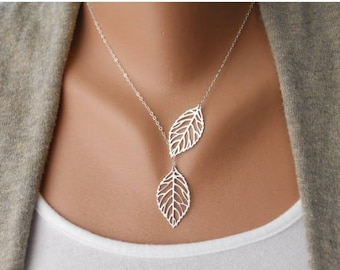 Leaf Necklace, Nature necklace, Autumn Fall Necklace, Leaf Pendant, Silver and Gold Plated Leaf Necklace