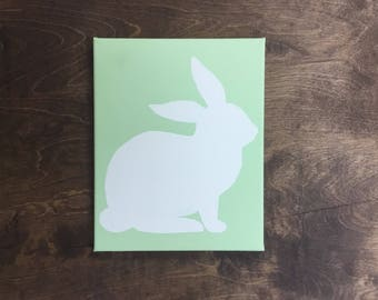 Easter Bunny Silhouette on Canvas