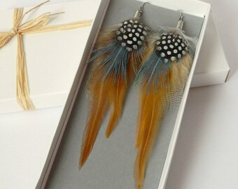 Brown and gray feather earrings - Long boho feather jewelry - Festival fashion - Summer fashion - Festival jewelry - Bohemian jewelry